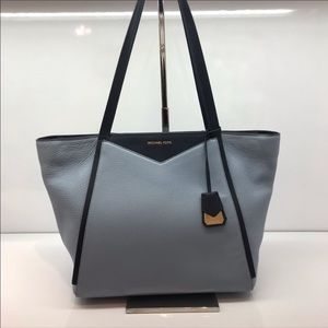 sky blue and navy michael kors whitney tote bag